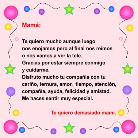 carta para regalar a mama